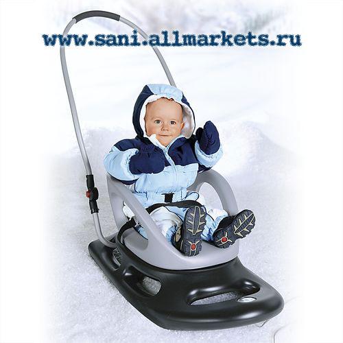 Детские немецкие санки KHW Snow Baby Dream / Беби Дрим с ручкой.